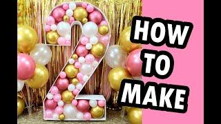 Balloon Mosaic Number 2 - DIY Large Birthday Party Decoration Idea
