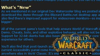 WoW Official Classic/Demo Details - Zones, Classes, Changes, More