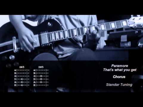 PARAMORE thats what you get  COVER GUITAR CHORD TAB