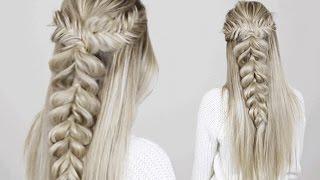 Half-up Half-down Hairstyle | Fishtail into Pull through braid
