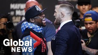Floyd Mayweather vs. Conor McGregor face off full press conference ahead of August showdown - dooclip.me