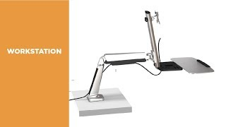 DWS02-C01 Single Display Sit-Stand Workstation Desk Mount Features Video