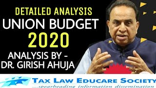Detailed analysis of BUDGET 2020 by Dr. Girish Ahuja | UNION BUDGET 2020 | 1st February, 2020 | 🇮🇳