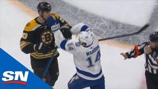Complete Line Brawl Breaks Out After Siren Sounds In Bruins Vs. Lightning