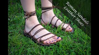 Roman Sandals, Leather Shoes, Barefoot, DIY