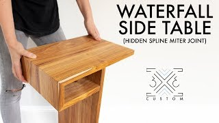 Waterfall End Table With Hidden Spline Miter Joint // Woodworking Joinery // Modern DIY Furniture