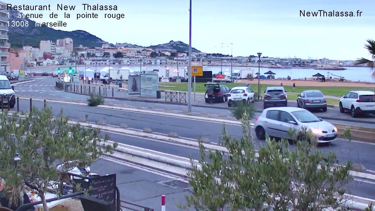 Webcam en live du New Thalasse à Marseille, donnant sur la plage de la vieille chapelle, près des plages du Prado
