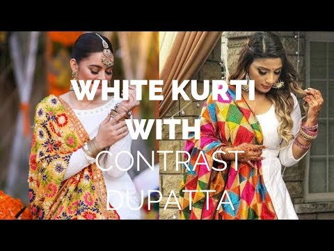 Stylish White Kurti With Contrast Dupatta | Best Combination With White Kurti With Contrast kurti