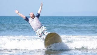 Fat Man Learning to Surf - Happiness is Surfing in Costa Rica