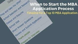 When to start the MBA admissions process – Timeline for a top 10 MBA application