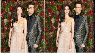 Karan Johar  With Ananya Panday Deepika Ranveer Wedding Reception Party - Bollywood B Town News