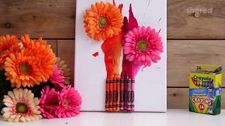 Easy Melted Crayon Flower Art | Home Decor