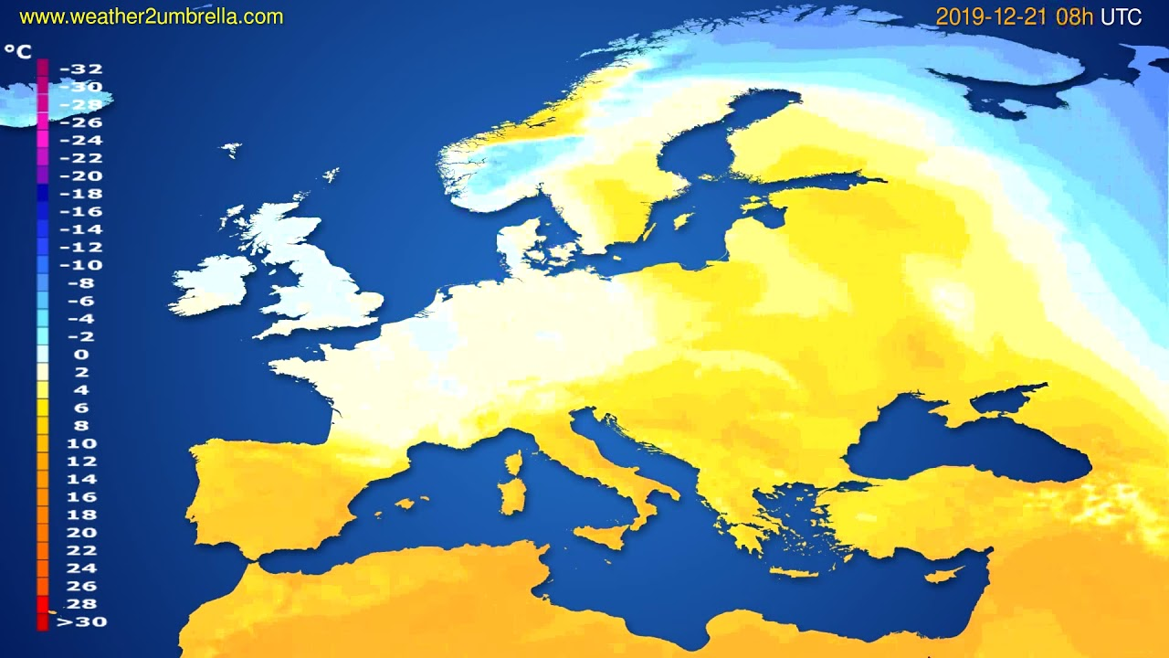 Temperature forecast Europe // modelrun: 12h UTC 2019-12-20