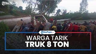 Warga Tarik Truk 8 Ton dari Jurang di Karanganyar Pakai Tali Tambang, Evakuasi Memakan Waktu 5 Jam