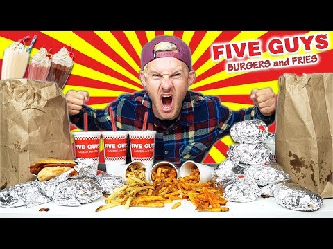 THE $125 FIVE GUYS MENU CHALLENGE! (11,000+ CALORIES)