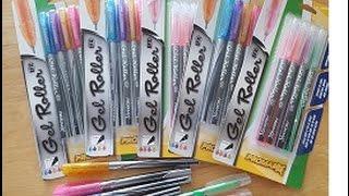 Dollar Tree Pen Review Gel Roller Shimmer & Neon