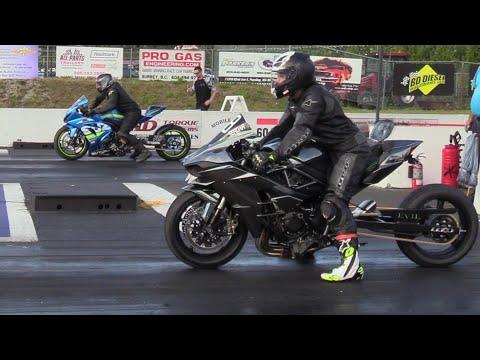 GSXR vs H2 Kawasaki - drag race