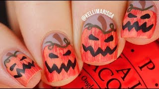 Easy Halloween Jack-O-Lantern Nail Art Design Tutorial!  || KELLI MARISSA