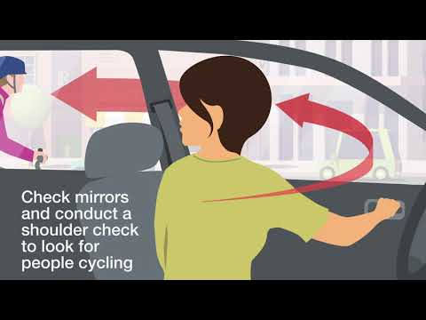 Illustration of a driver observing a cyclist while opening door with Dutch Reach method