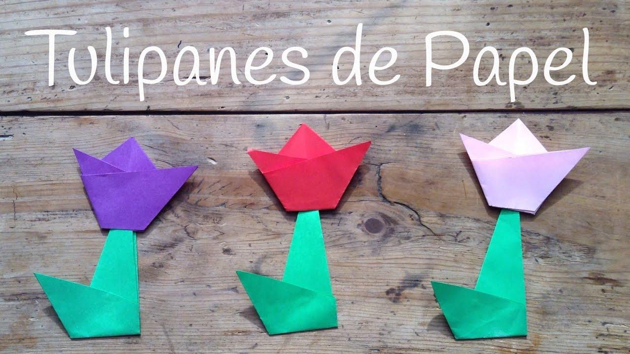 TULIPAN de papel paso a paso  | Origami fácil para niños