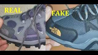 North Face shoes real vs fake.  How to spot counterfeit Northface boots