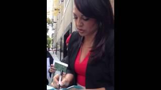Sara Ramirez greeting fans outside The View 11-11-2013