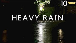 HEAVY RAIN at NIGHT (DARK Screen) Heavy Rain Sounds at Night for Sleep | Sound of Rain on Roof 10hrs