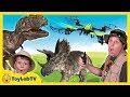 Download Video T-Rex Drone Face Off with Park Ranger Aaron, Life Size Dinosaurs & Surprise Toys, Fun Kids Video