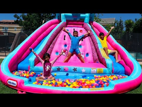 Emma Pretend Play with Water Slide Inflatable Toys