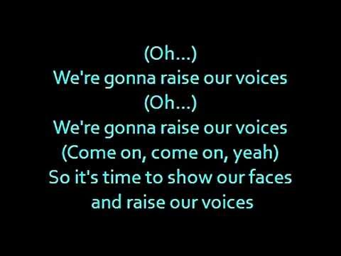 "Barbie movie song: ""Raise our voices"" lyrics on screen"