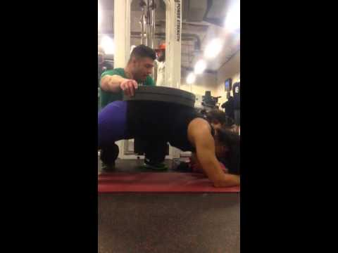 Mayra - weighted planks (90 lbs) x 3 x 30 secs
