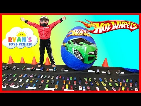 GIANT EGG HOT WHEELS Surprise Toys Opening With Disney Cars