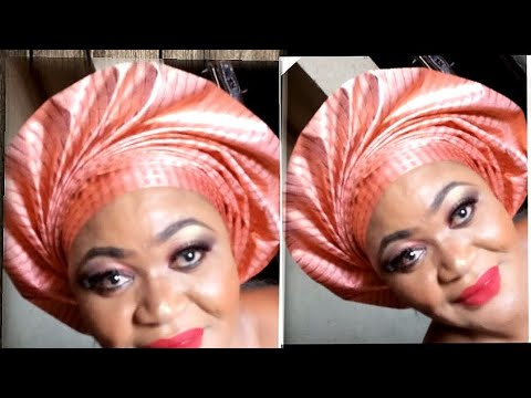 STEP BY STEP ON HOW TO TIE PORTABLE FAN GELE. ( Ashebi Style)