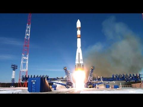 Запуск космического аппарата с космодрома Плесецк ракетой-носителем «Союз-2» видео