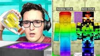 DRINKING BOSS STEVE AND RAINBOW STEVES POWER POTION IN MINECRAFT!