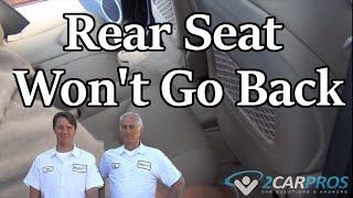 Rear Seat Wont Go Back Toyota Rav4 2006-2012