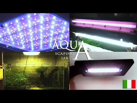 Aquascaping Lab - Illuminazione Acquari acqua dolce; NEON fluorescenti lineari e plafoniere LED