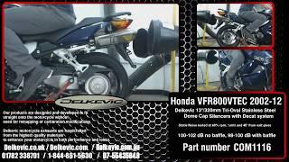 "Delkevic Tri-Oval 13""/320mm Stainless Steel Silencers On A Honda VFR800 VTEC Interceptor 2002-12"