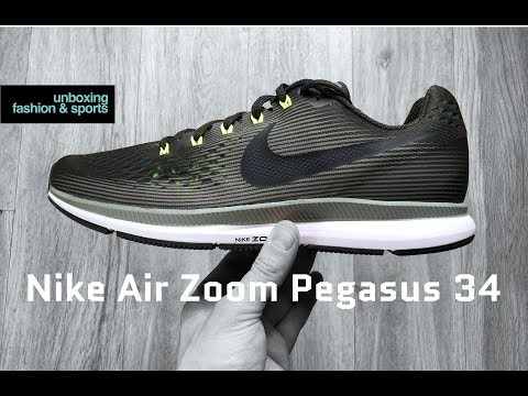 Nike Air Zoom Pegasus 34 'olive/volt' | UNBOXING & ON FEET | running shoes | 2018 | 4K