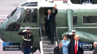 FORMER President Obama Takes Marine One Out Of DC For The Last Time