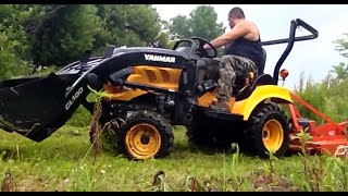 4x4 Tractor Brush hogging Apple Orchard Brushhog
