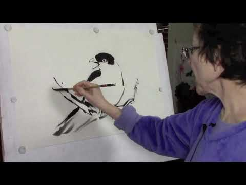 Easy Sumi-e Bird Painting