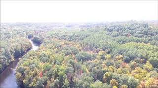 Aerial DJI Phantom 4 Drone Video Peshtigo River, Crivitz WI Autumn Fall Colors Leaves Changing