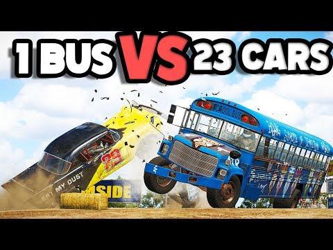 School Bus Vs 23 Cars! Complete Destruction! - Wreckfest