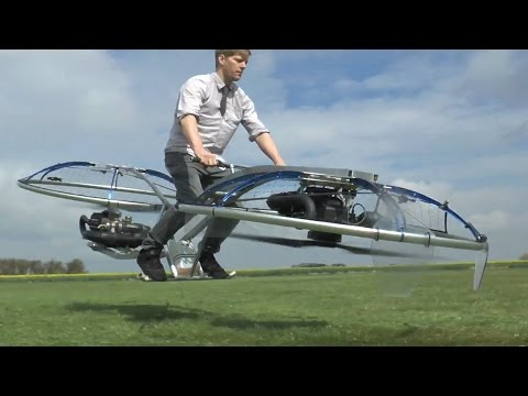 Man makes homemade hoverbike in tool shed
