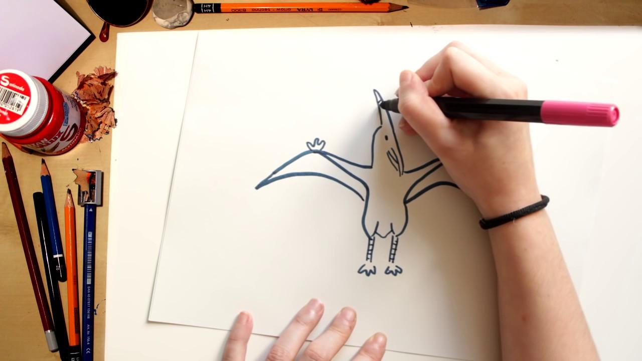 Como desenhar um Pterodáctilo - desenhando Dinossauros para crianças