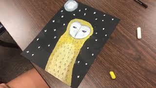 Oil Pastel Barn Owls