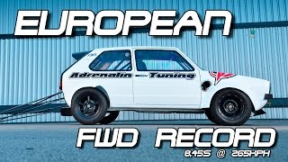 NEW European FWD Record! VW Golf Mk1 DSG 8,45s VW Action Santa Pod 2016