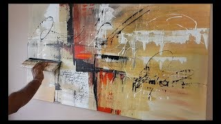 Abstract Painting / Different Tools And Techniques / Easy / Acrylics / Demonstration