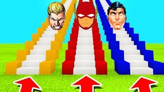 Minecraft PE : DO NOT CHOOSE THE WRONG STAIRCASE! (Aquaman, Flash & Superman)